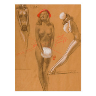 Three Nudes Pin Up Art Postcard
