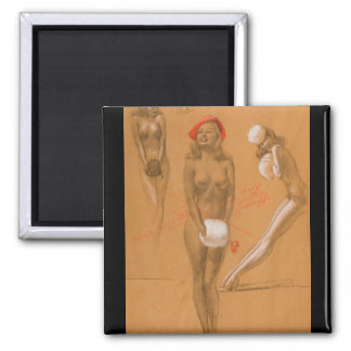 Three Nudes Pin Up Art Square Magnet