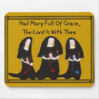 """Three Nuns Kneeling """"Hail Mary Full Of Grace"""" Mouse Pad"""