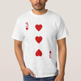 Three of Hearts Playing Card T-Shirt