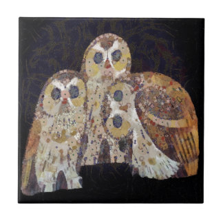 Three Owls - Art Nouveau Inspired by Klimt Tile