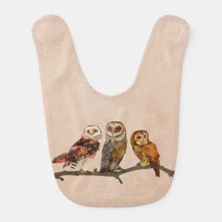 THREE OWLS IN A ROW Baby Bib