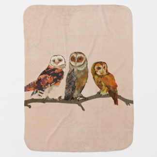 THREE OWLS IN A ROW Baby Blanket