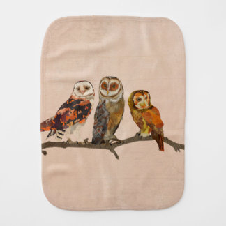 THREE OWLS IN A ROW Burp Cloth