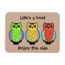 Three Owls Rectangular Photo Magnet