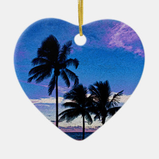 Three Palm trees Hollywood beach Florida. Ceramic Heart Decoration