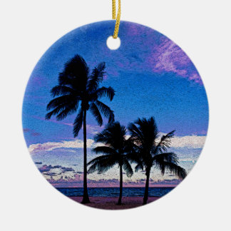 Three Palm trees Hollywood beach Florida. Round Ceramic Decoration