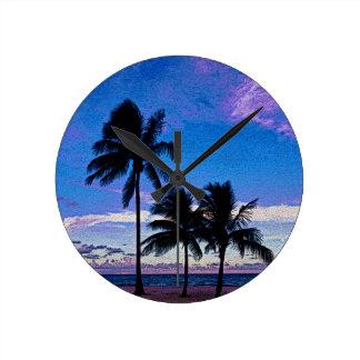 Three Palm trees Hollywood beach Florida. Round Clock