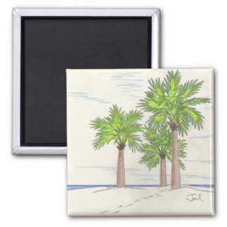 THREE PALMS magnet (square) 2 Inch Square Magnet