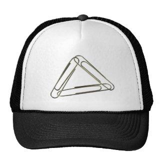 Three paper clips interlinked trucker hat