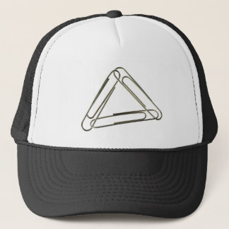 Three paper clips interlinked trucker hat
