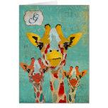 Three Peeking Giraffe  Monogram Notecard