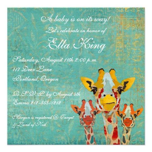 Three Peeking Giraffes  Baby Invitation