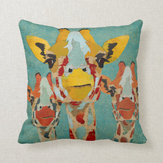 Three Peeking Giraffes Blue Pillow