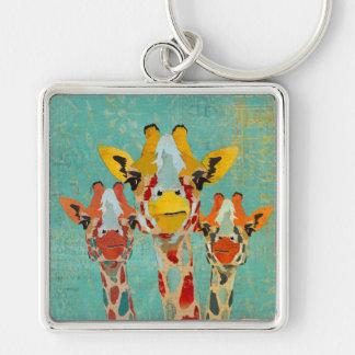 Three Peeking Giraffes  Keychain