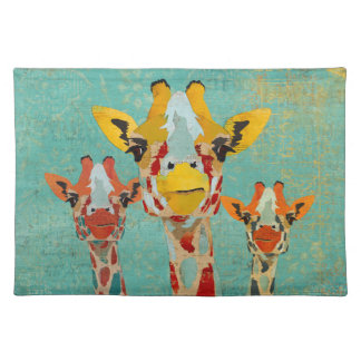 Three Peeking Giraffes Placemat