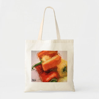 Three Peppers/ Watercolor Look/ Still Life Art Tote Bag