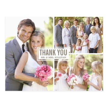 Three Photo Collage Wedding Thank You Postcard at Zazzle