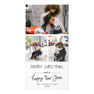 Three Photo Merry Christmas Happy New Year Script Card