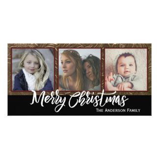 Three Photo Merry Christmas Picture Card