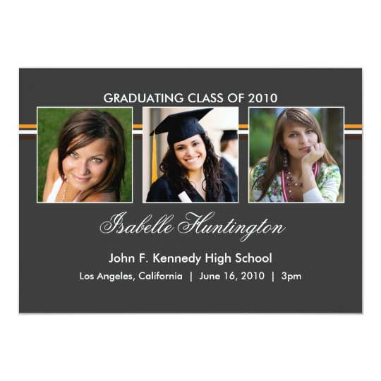 Three Photos Bar Slate Graduation Announcement