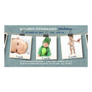 Three Photos on Twine - Birthday Photo card