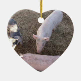 Three Pigs Double-Sided Heart Ceramic Christmas Ornament