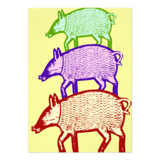 Three Pigs Party BBQ Cookout Picnic Invitation