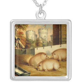 Three Pigs with Castle in the Background Silver Plated Necklace