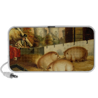 Three Pigs with Castle in the Background Travelling Speaker