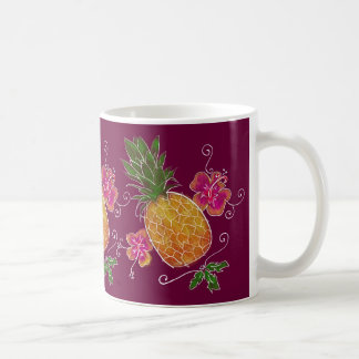 Three Pineapples Illustration with White | Mug