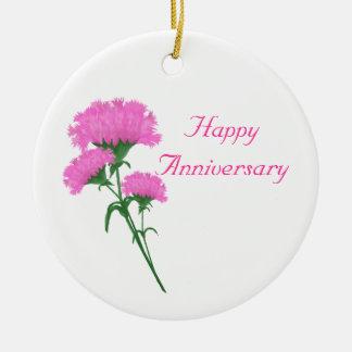 Three Pink Carnations Round Ceramic Decoration