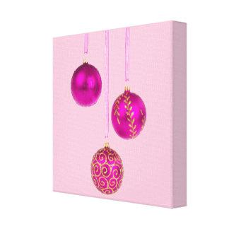Three Pink Christmas Balls Gallery Wrap Canvas