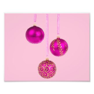 Three Pink Christmas Balls Art Photo