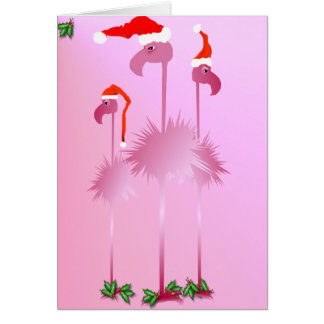 Three Pink Christmas Flamingos Card