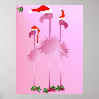 Three Pink Christmas Flamingos poster