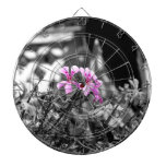 Three Pink Flowers Dartboard
