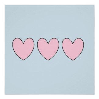Three Pink Hearts on Pastel Blue