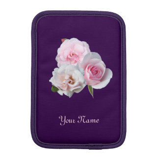 Three pink roses. Floral pattern. Add name. iPad Mini Sleeve