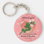 Three Pink  Roses Wedding Guest Thank You Key Chain