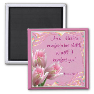 Three Pink Tulips Square Magnet