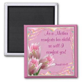 Three Pink Tulips Square Magnet