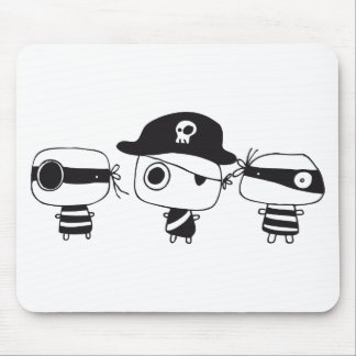 Three pirates black mouse mat