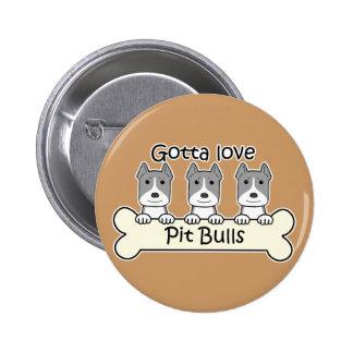 Three Pitbulls 6 Cm Round Badge