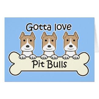 Three Pitbulls Greeting Card