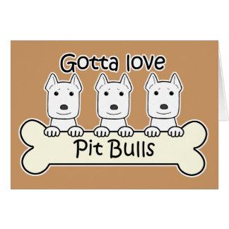 Three Pitbulls Greeting Cards