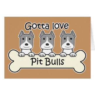 Three Pitbulls Card
