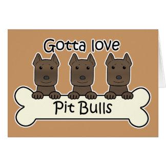 Three Pitbulls Note Card
