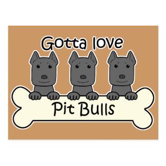Three Pitbulls Postcard