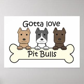 Three Pitbulls Poster